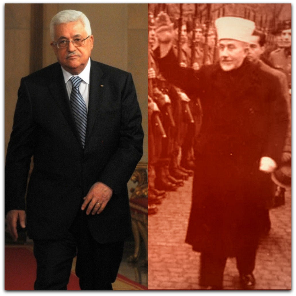 Abbas and Mufti | Photo: of Abbas, by Israel GPO; of Mufti in Nazi Germany, a Vimeo screenshot; Montage by Brian Schrauger