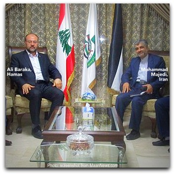 Baraka of Hamas and Majedi of Iran meet in Beirut on 1 Sept 2016 Photo screenshot from Maan News Agency website