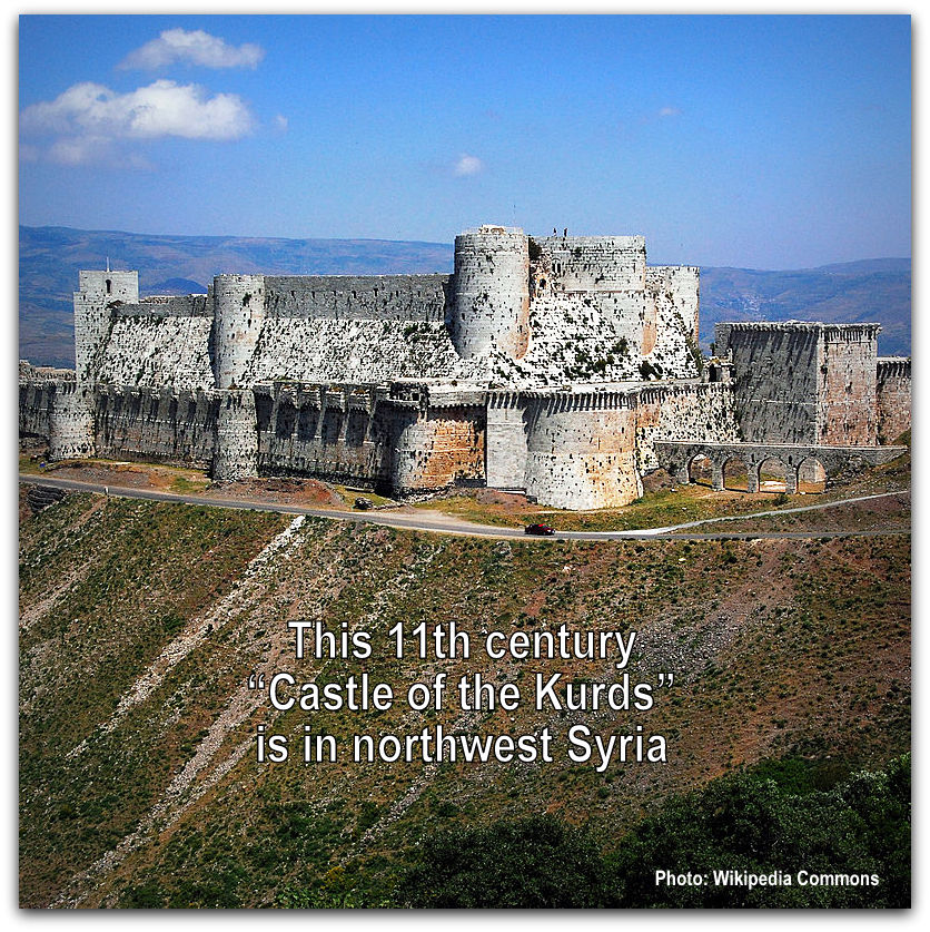 Castle of the Kurds in Syria Photo Wikipedia Commons by James Gordon