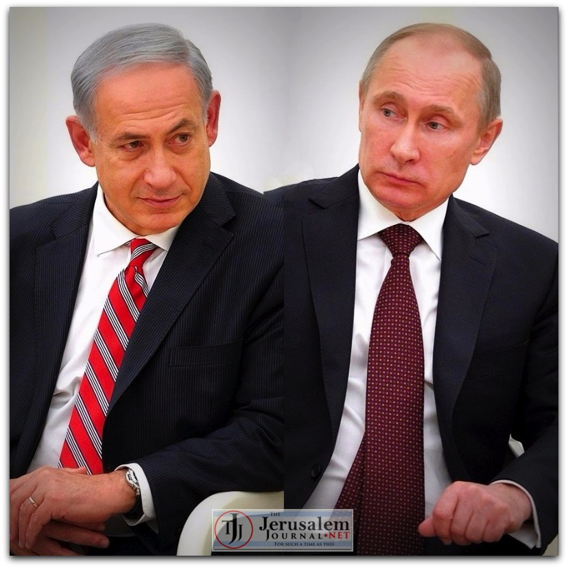 Collage Netanyahu and Putin in Moscow in 2013 Photos Kremlin website LOGO
