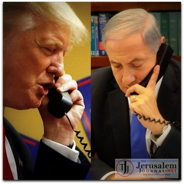 Combined Trump and Netanyahu on phone Photos Twitter and Israeli GPO LOGO