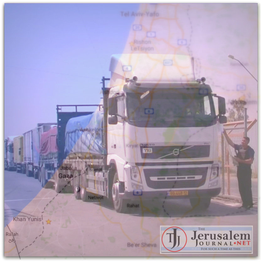 Convoy of Israeli aid trucks line up to enter Gaza and Google map of Gaza Photo YouTube screenshot The Telegraph channel LOGO