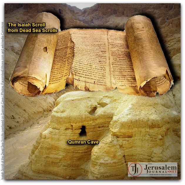 Dead Sea Scroll overlayed on Qumran cave Photos Facsimile Editions dot com and Wikimedia Commons CAPTIONED
