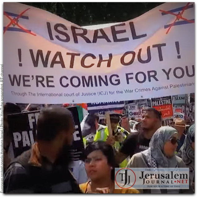 Europe protest openly threatens Israel Photo YouTube screenshot RT channel LOGO