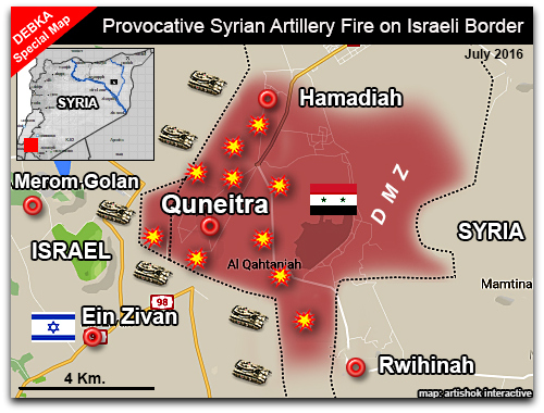 Map of provocative Syrian fire on Israel's northern border on 25-28 July 2016 | Map photo by DEBKAfile