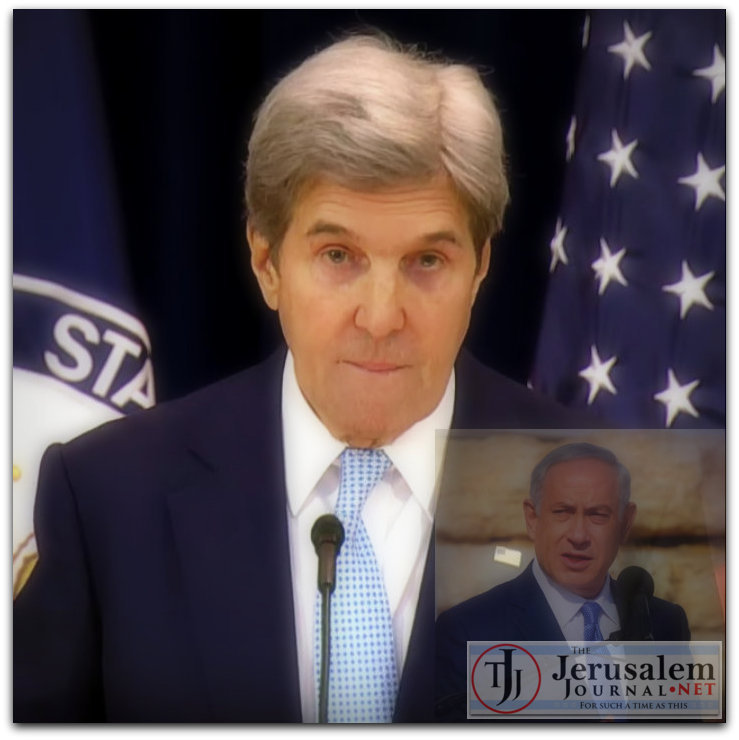 John Kerry delivering peace speech on 28 Dec 2016 Photo YouTube screenshot US Dept of State channel Netanyahu photo Israeli GPO LOGO