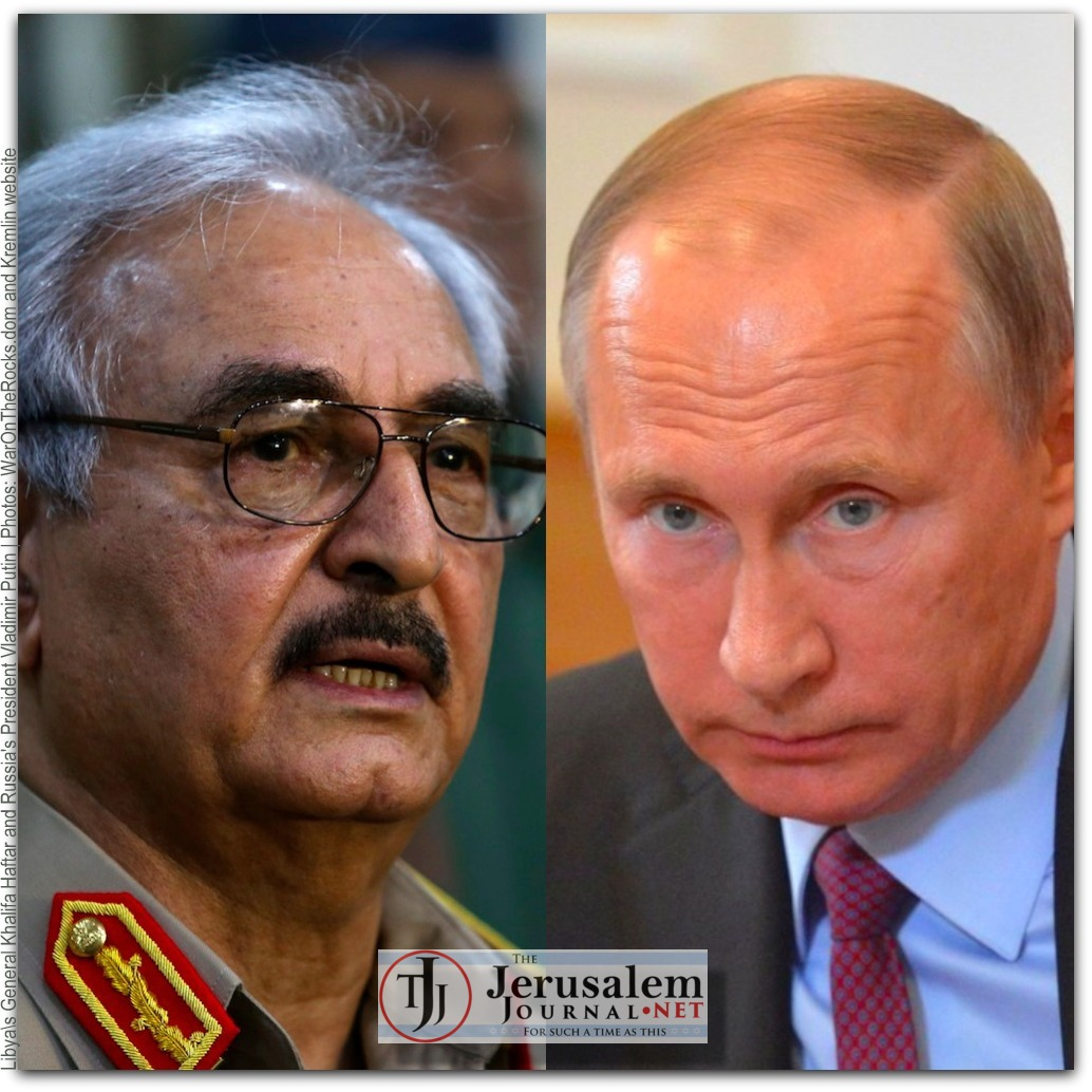 Libyas Haftar and Russias Putin Photos WarOnTheRocks dot com and the Kremlin website LOGO