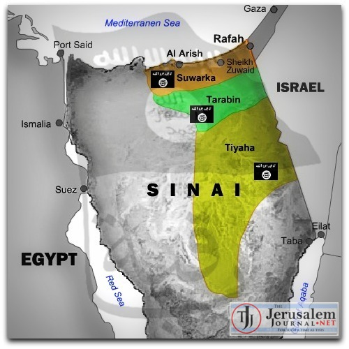 Map of ISIS gains in Sinai Photo DEBKAfile dot com LOGO