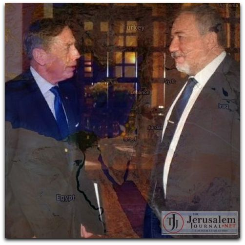 Montage Lieberman and Petraeus in Jerusalem on 22 Jan 2017 Photos Israel Defense Ministry and Google Earth DSed
