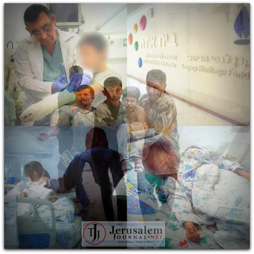 Montage Ziv Medical Center and Syrian pediatric patients Photos Efi Shrir and Twitter account omerdirilis34 LOGO