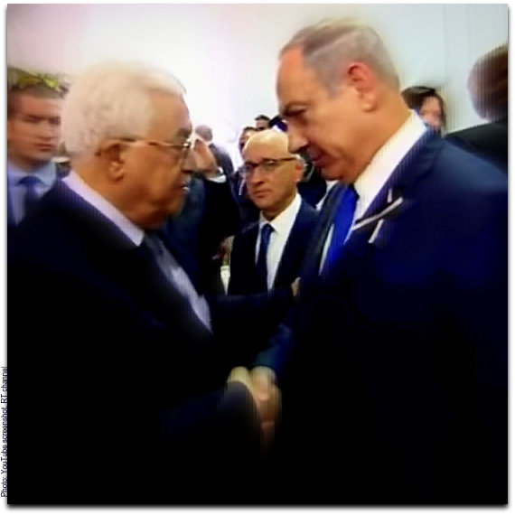 Netanyahu Abbas shake hands at Peres funeral Photo YouTube screenshot RT channel