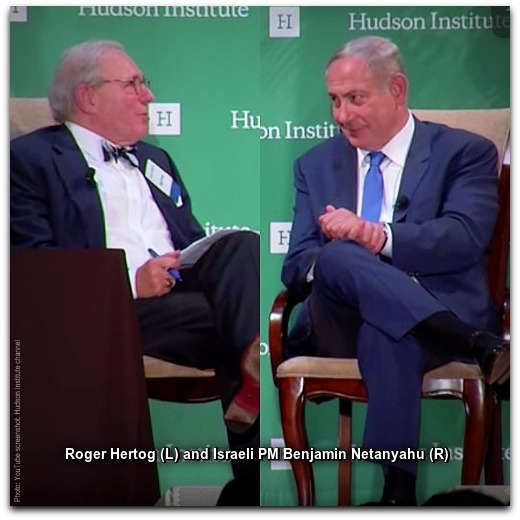 Netanyahu and Hertog Photo YouTube screenshot Hudson Institute channel WITH CAPTION
