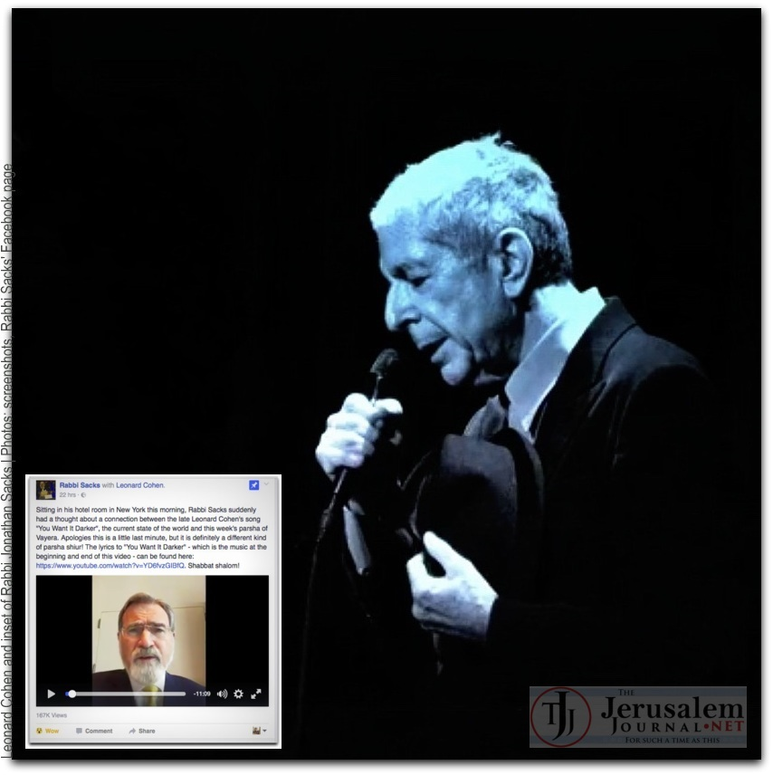 Rabbi Sacks on You Want it Darker by Leonard Cohen Photo Rabbi Sacks Facebook Page LOGO