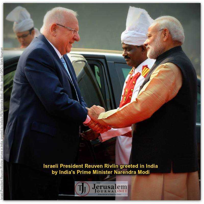 Rivlin greeted in India by PM Narendra Modi Photo Israeli GPO Mark Neiman LOGO
