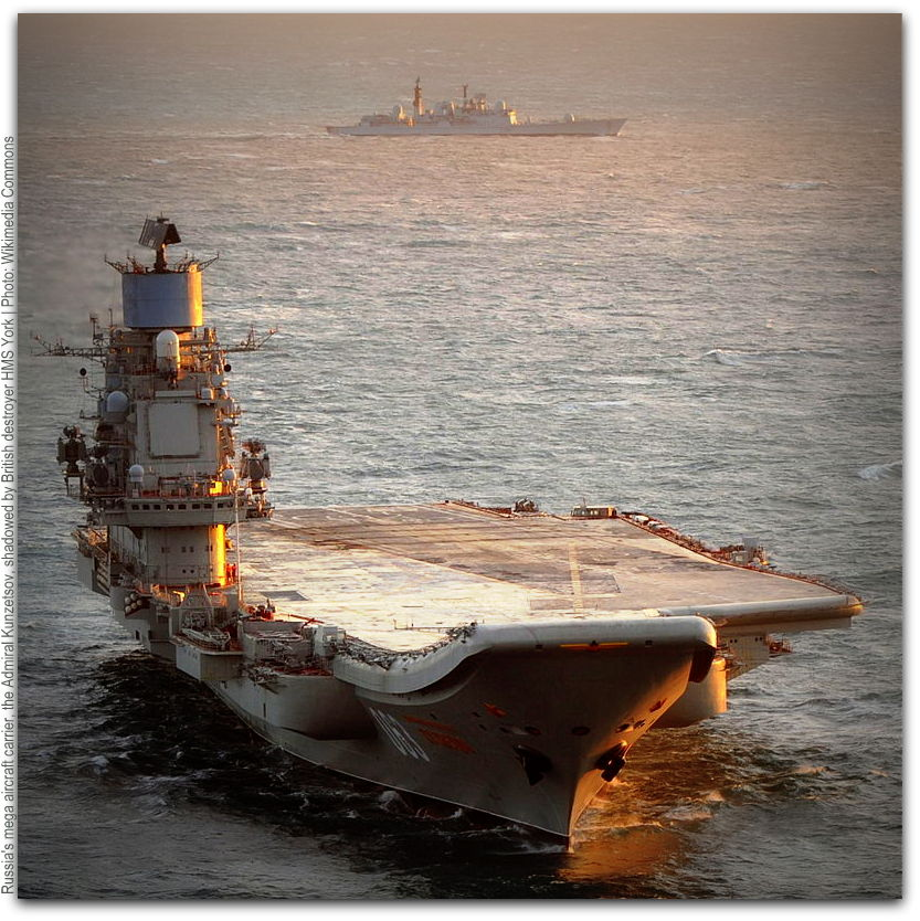 Russian aircraft carrier Admiral Kuznetsov shadowed by HMH York Photo Wikimedia Commons