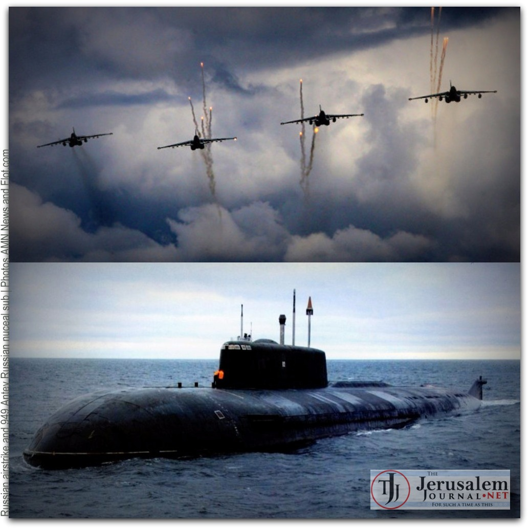 Russian airstrikes and 949 Antey nuclear sub Photos AMN News and Flot dot com LOGO