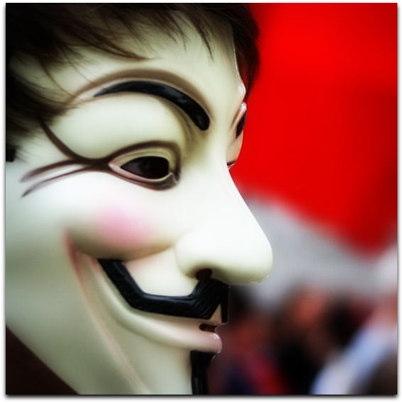 Guy Fawkes mask seen at a protest in Montreal on May 22, 2012 against Bill 78 as part of the 2012 Quebec protests