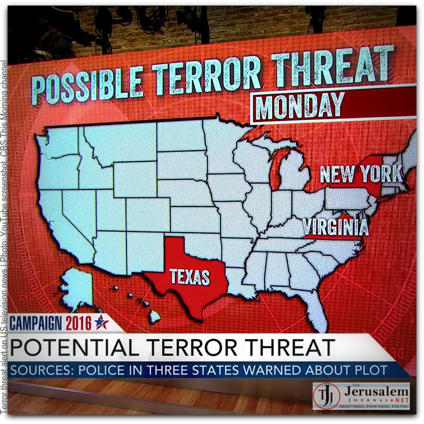 Terror threat alert on US television news Photo YouTube screenshot CBS This Morning channel Mod01a