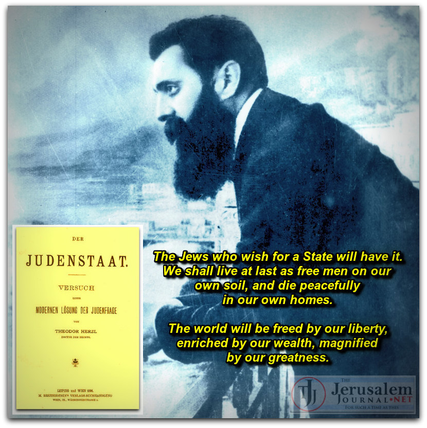 Theodore Herzl and his pamphlet Der Judenstaat Photos Israeli GPO and Wikimedia Commons LOGO