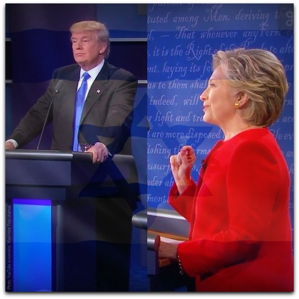 Trump and Clinton debate 26 Sept 2016 Photot YouTube screenshot Washington Post channel WITH ISRAELI FLAG OVERLAY 2