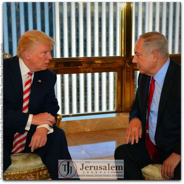 Trump and Netanyahu Photo Donald J Trump US presidential campaign LOGO