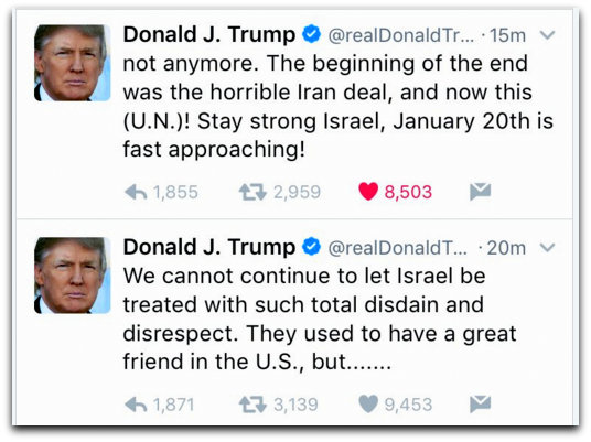 Trump tweets about Israel Photo Twitter screenshot RealDonaldTrump account