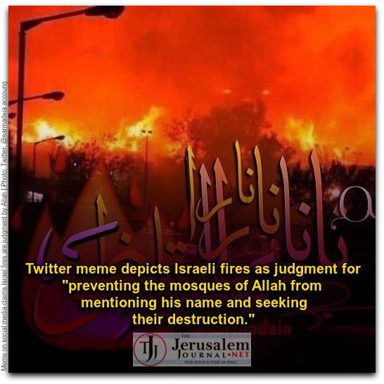 Twitter meme claiming Israel fires caused by attempts to quiet public Islamic calls to prayer Photo Twitter account at sarmadeia CAPTION