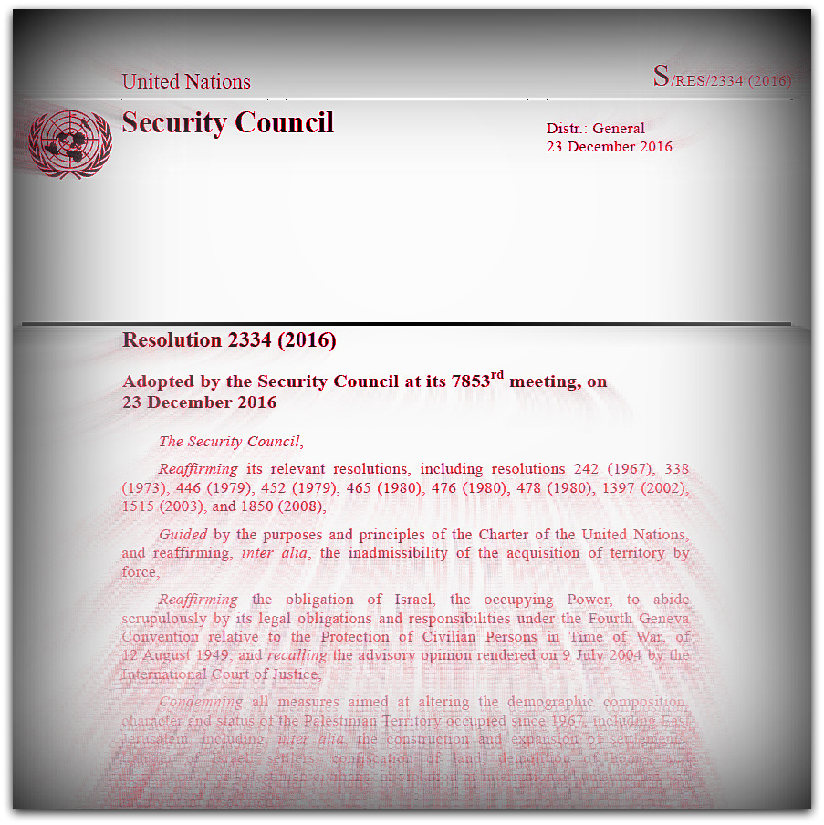 UN Security Council Resolution 2334 passed 23 December 2016
