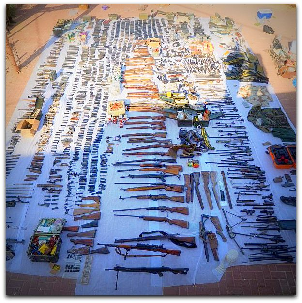 Weapons seized by Israel in Bethlehem and Hebron on Tuesday 23 Aug 2016 Photo IDFblog com