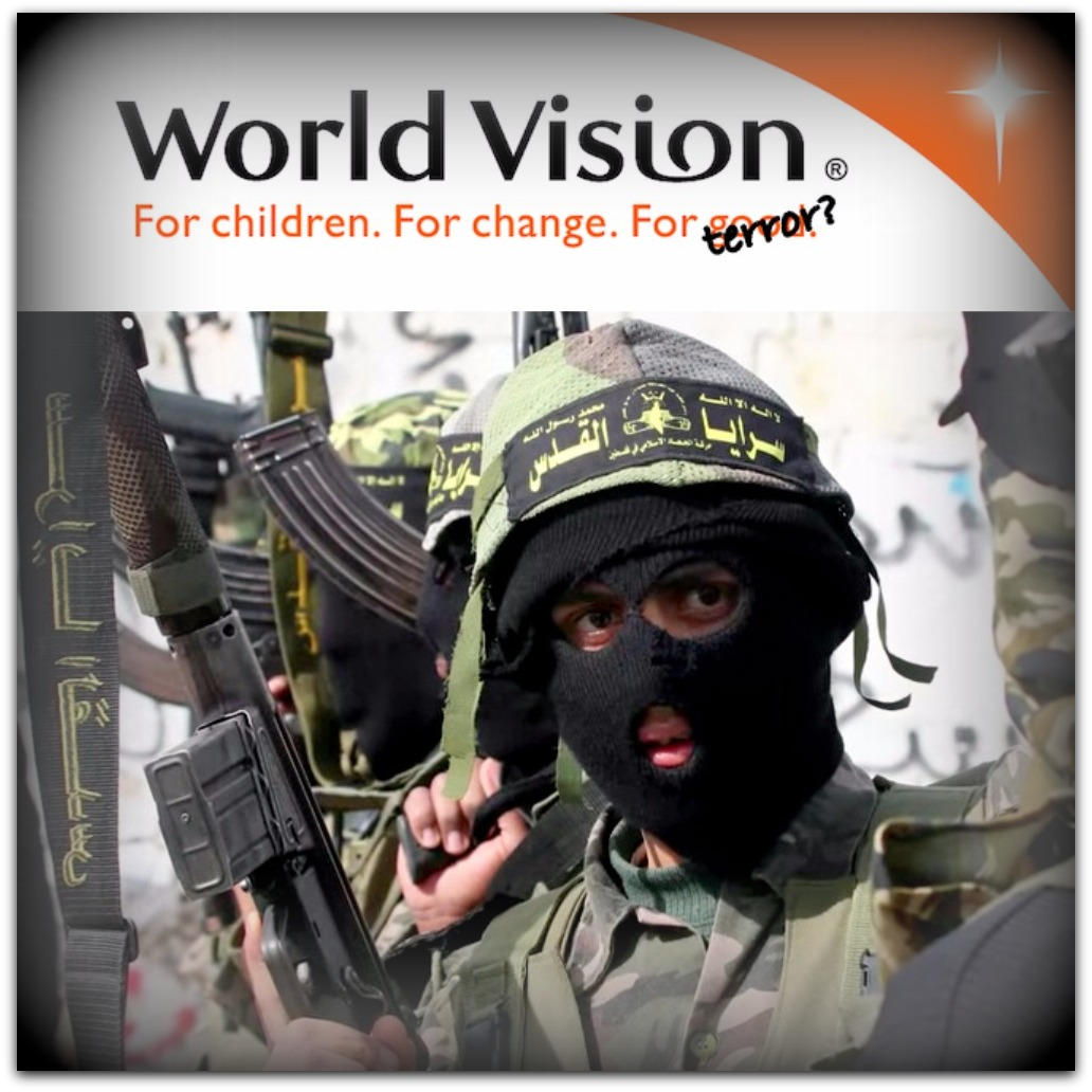 World Vision logo plus Hamas terrorist Photo YouTube screenshot Seeker Daily channel