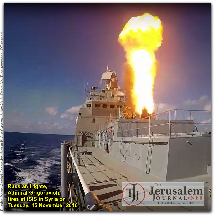 Russian frigate Admiral Grigorovich fires missiles at ISIS in Syria on 15 Nov 2016 Photo YouTube screenshot RT channel CAPTIONED