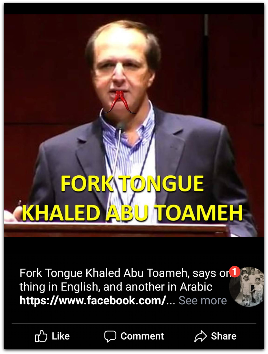 Khaled portrayed as Fork Tongue | Photo: Facebook Jordan is Palestine Page